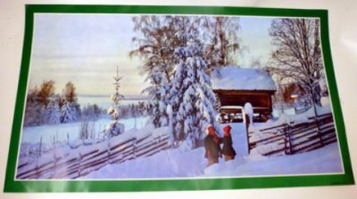 Pappersbonad, vinter , snö,