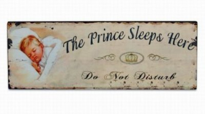 Plåtskylt: The Prince sleeps here