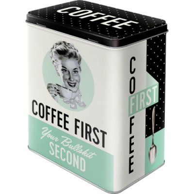 coffe first, kaffebox, plåtask, skrin